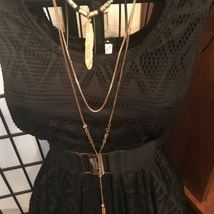 Long Gold Colored Layered Necklace
